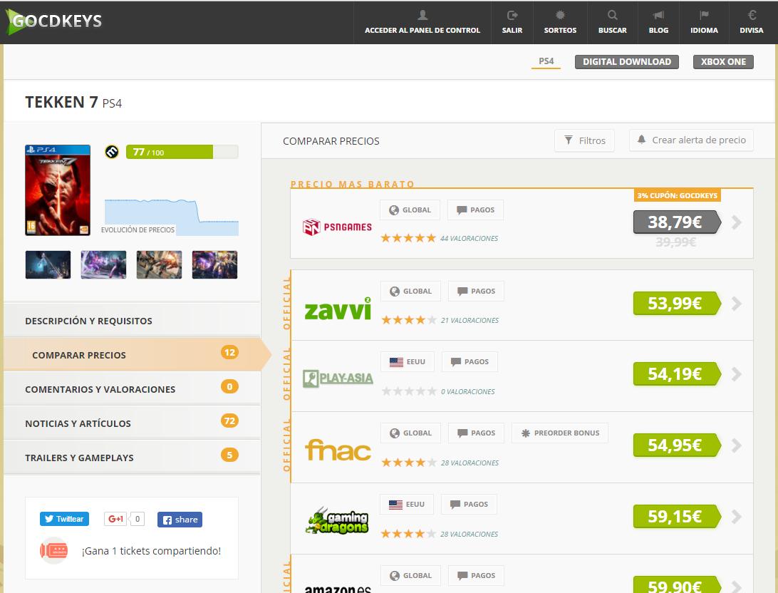 Gocdkeys, la plataforma que compara precios de videojuegos
