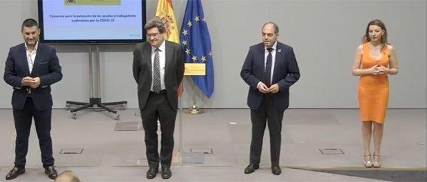 El ministro de Inclusión, Seguridad Social y Migraciones, José Luis Escrivá, con los representantes de las organizaicones de autónomos - MINISTERIO DE INCLUSIÓN - Archivo