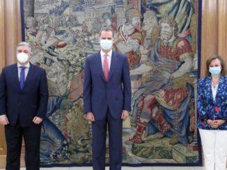 El Rey Felipe VI recibe en Zarzuela al canciller de Uruguay en su primer acto tras la salida de Juan Carlos I,