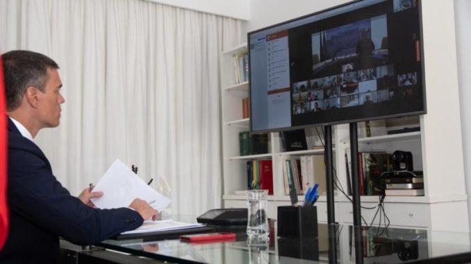 El presidente de Gobierno, Pedro Sánchez, durante la conferencia internacional de apoyo al Líbano convocada por el presidente francés, Emmanuel Macron, junto con el secretario general de Naciones Unidas, António Guterres - Moncloa